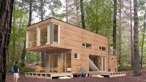 CONTAINER - WOODEN CLAD CONTAINER HOME.